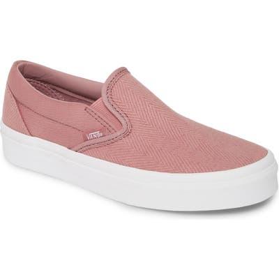 Vans Classic Herringbone Slip-On Sneaker, Pink