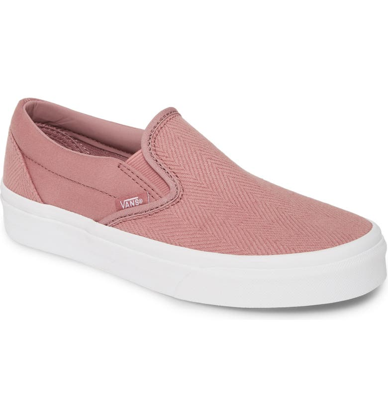 VANS Classic Herringbone Slip-On Sneaker, Main, color, NOSTALGIA ROSE/ TRUE WHITE