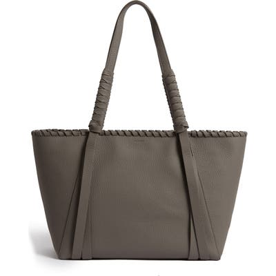Allsaints Small Kepi East/west Leather Tote - Grey