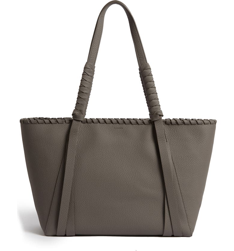 ALLSAINTS Small Kepi East/West Leather Tote, Main, color, STORM GREY