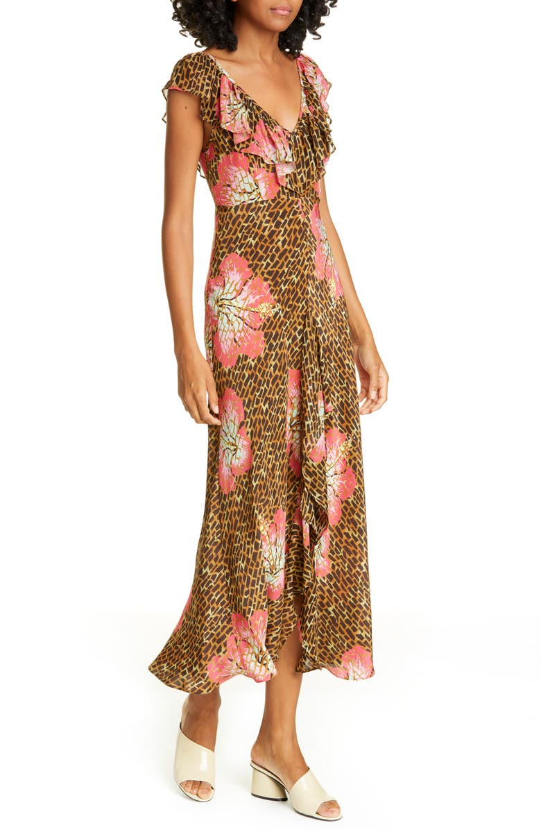 RIXO Antoinette Floral & Giraffe Print Silk Blend Midi Dress, Main, color, 200