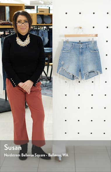 Hepburn Ripped High Waist Denim Shorts, sales video thumbnail