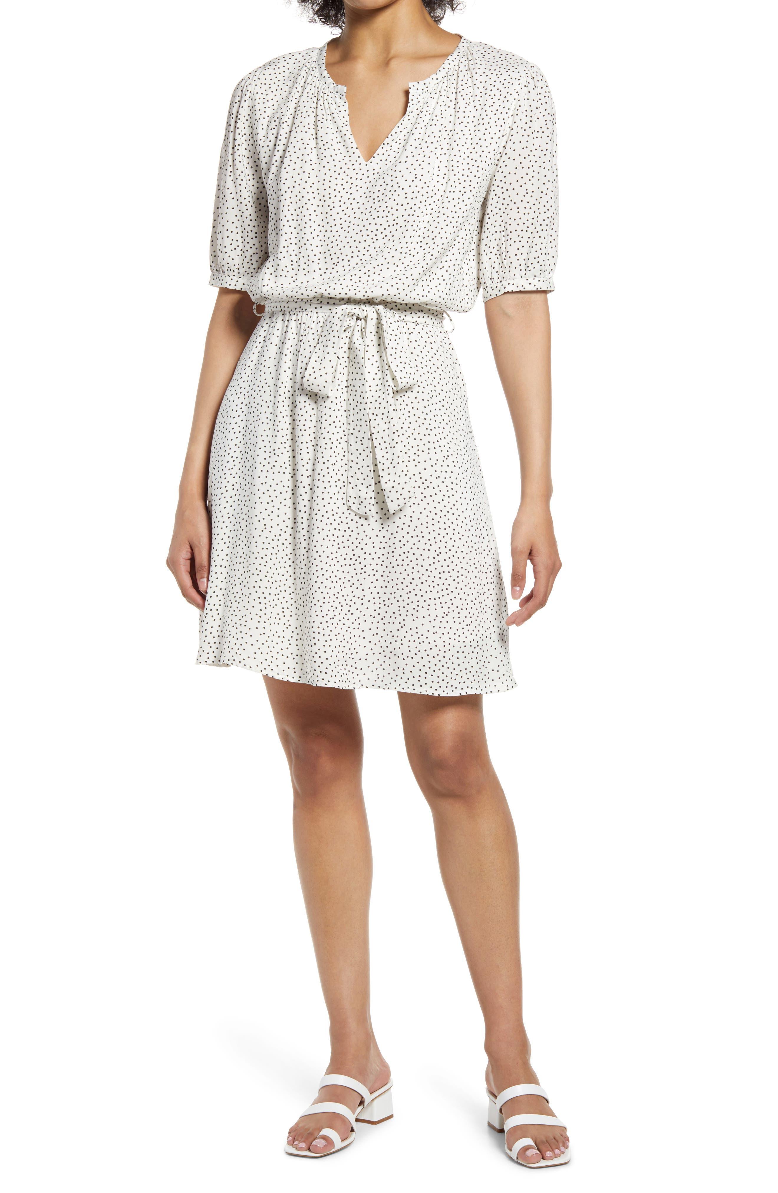 Lana Microdot Blouson Woven Dress