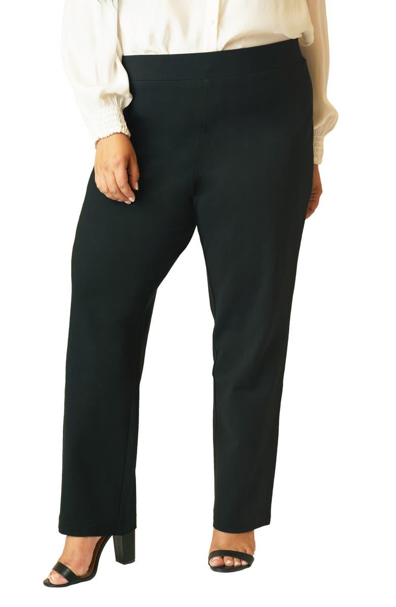 MARÉE POUR TOI Straight Leg Compression Knit Pants, Main, color, 001