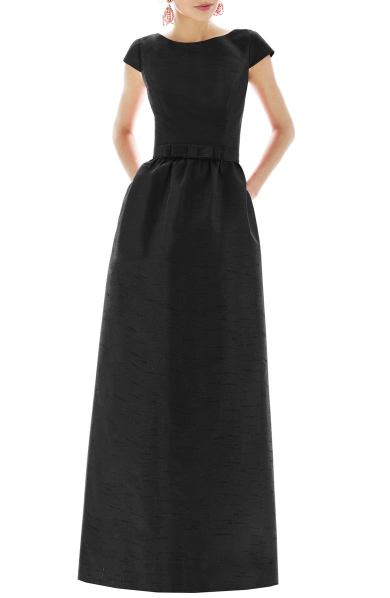 ALFRED SUNG Cap Sleeve Dupioni Full Length Dress, Main, color, BLACK