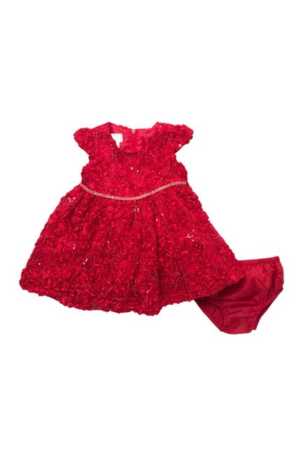 Image of GERSON & GERSON Floral Sequin Dress & Bloomer Set