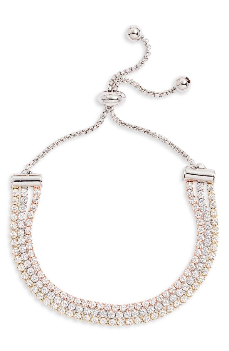 NORDSTROM Triple Strand Slider Bracelet, Main, color, GOLD- ROSE GOLD- SILVER