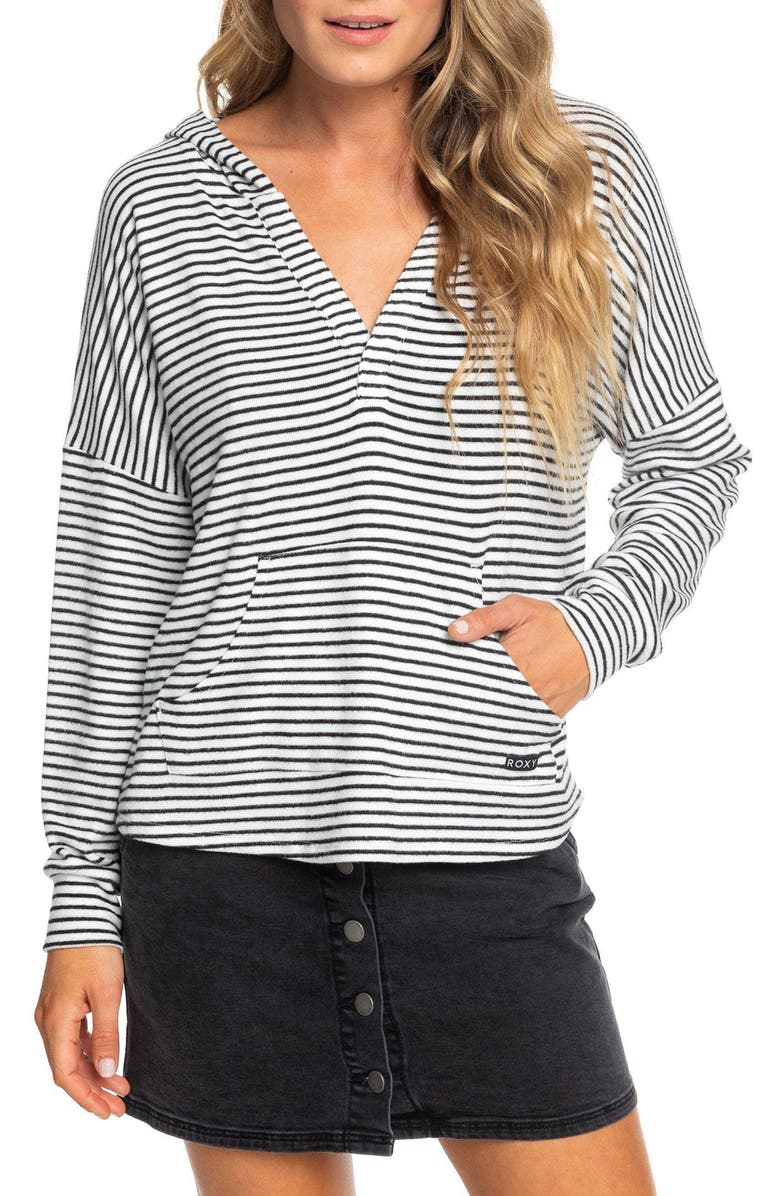 ROXY Sweet Thing Stripe Hooded Top, Main, color, ANTHRACITE MARINA STRIPES