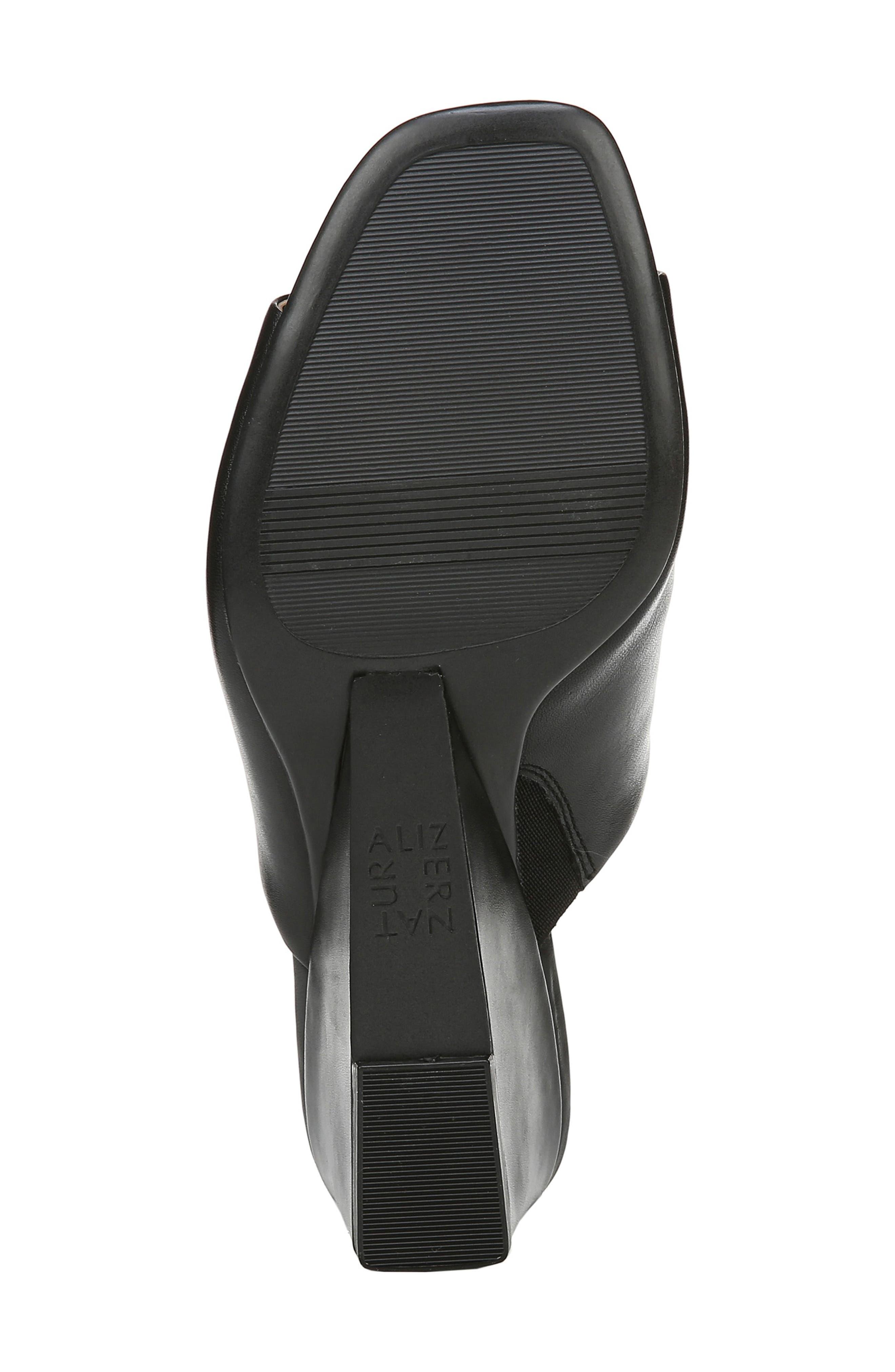 ,                             Zaya Wedge Slide Sandal,                             Alternate thumbnail 6, color,                             BLACK LEATHER