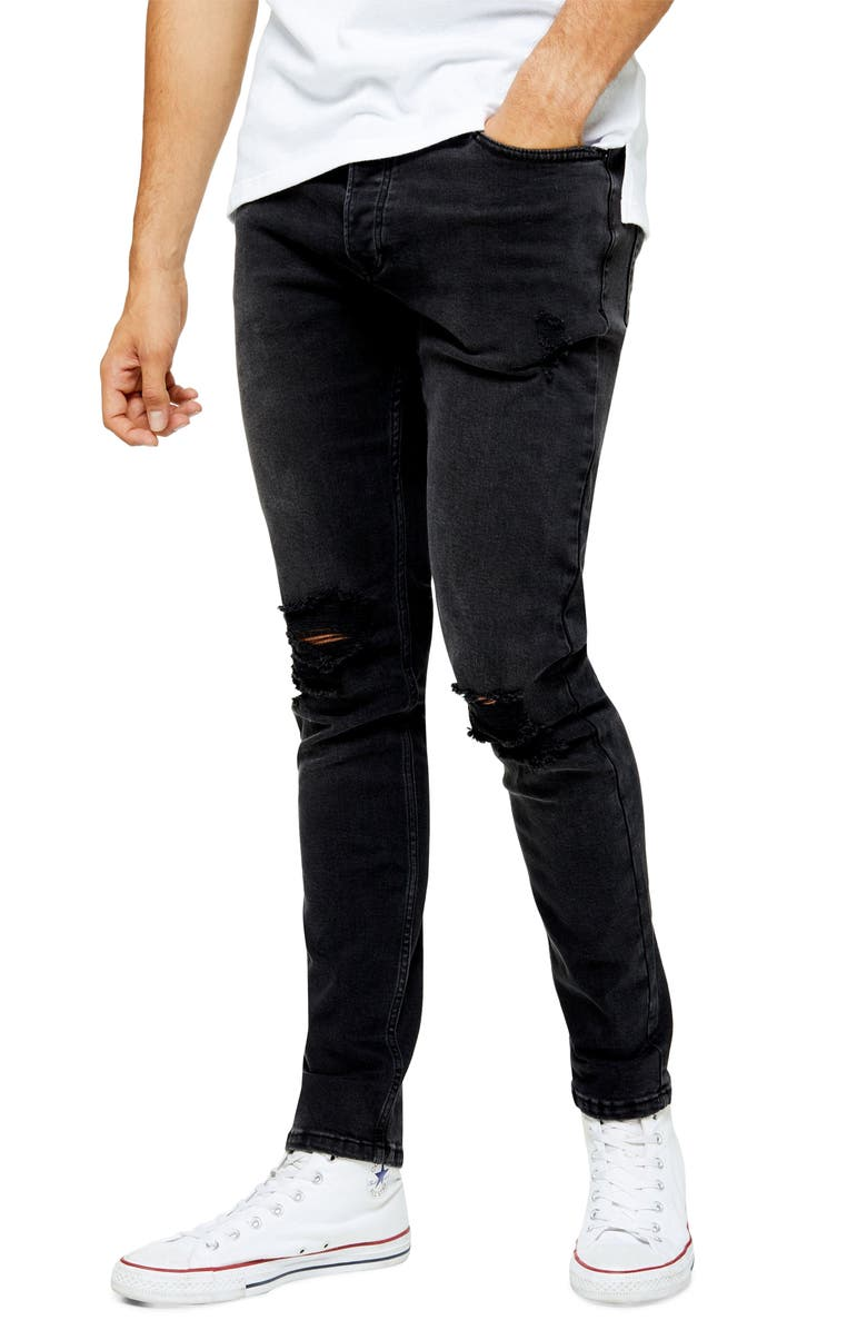 TOPMAN Ripped Skinny Jeans, Main, color, 001