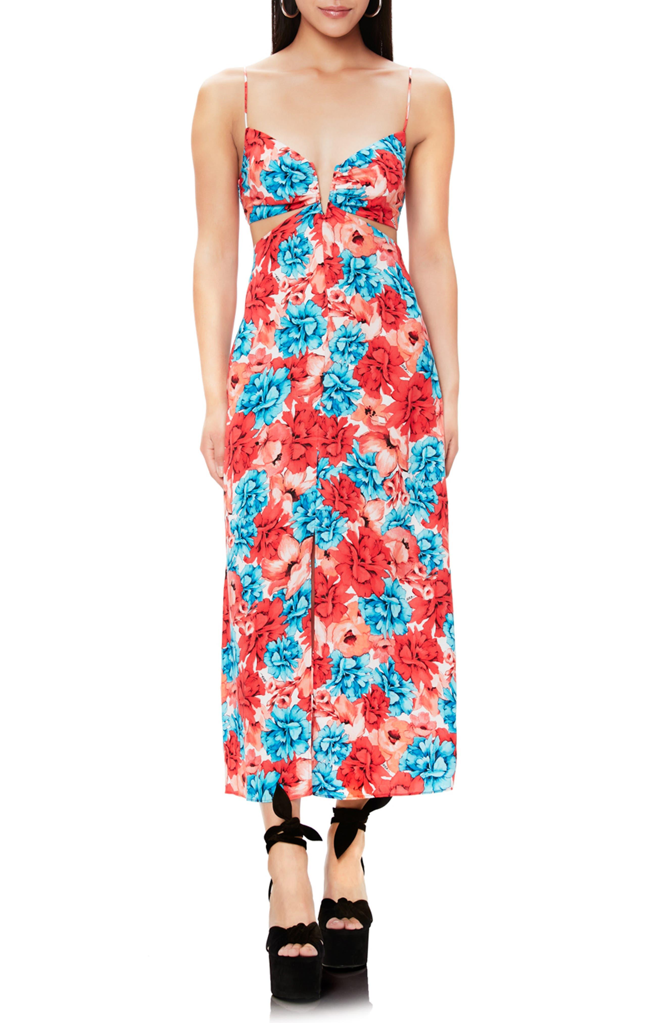 Afrm Koa Notch Neck Cutout Print Midi Dress, Red