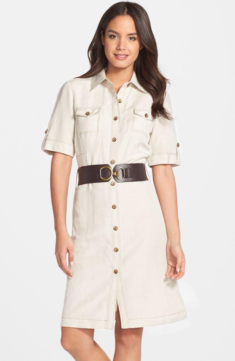 TAHARI Belted Linen Blend Shirtdress, Main, color, 250