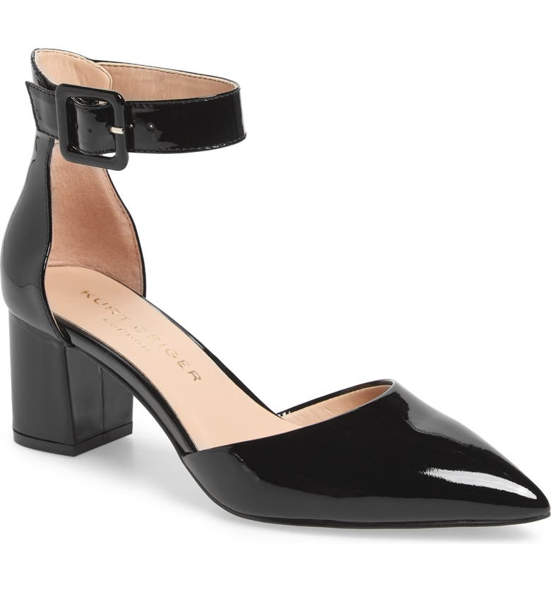 KURT GEIGER LONDON Burlington Ankle Strap Pump, Main, color, BLACK PATENT LEATHER