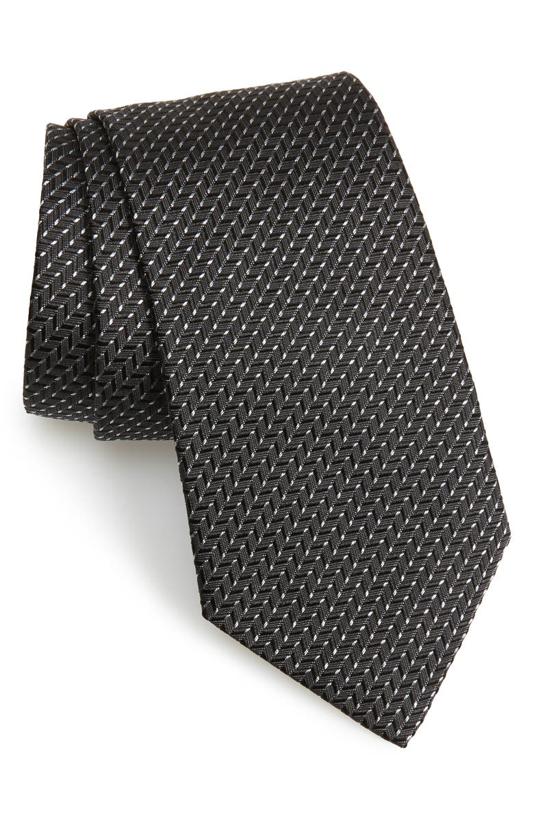 EMPORIO ARMANI Geometric Silk Tie, Main, color, BLACK