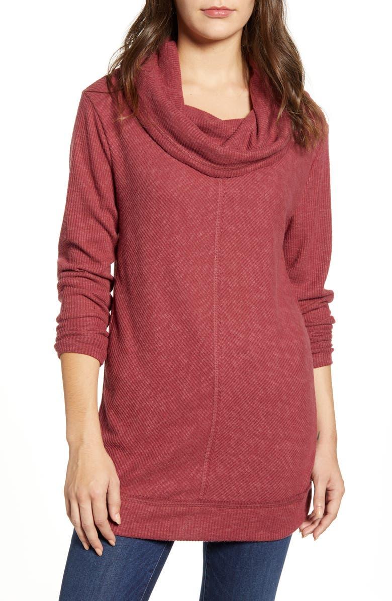 CASLON<SUP>®</SUP> Cozy Cowl Neck Long Sleeve Tunic Top, Main, color, RED CORDOVAN