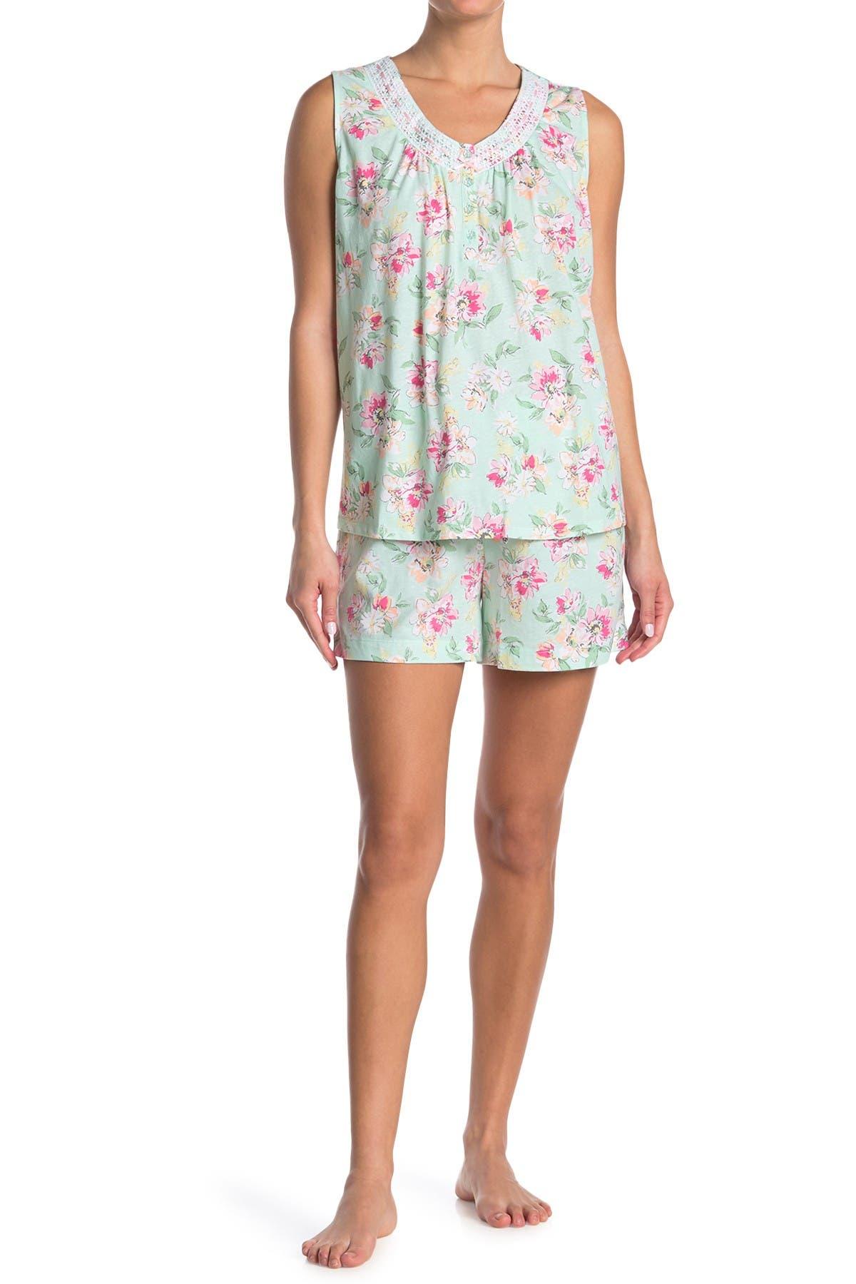 Image of ARIA Printed Jersey Tank & Bermuda Shorts Pajama Set