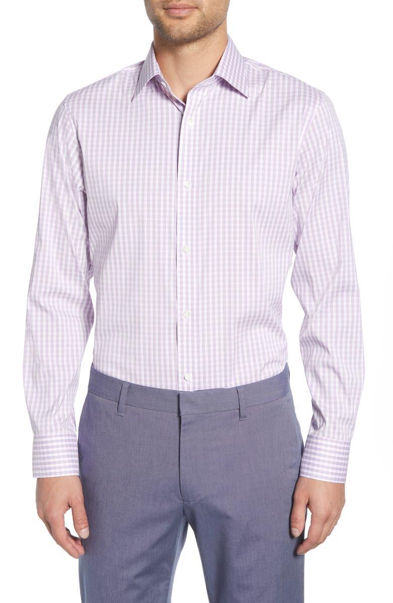 BONOBOS Antonio Slim Fit Stretch Plaid Dress Shirt, Main, color, PURPLE