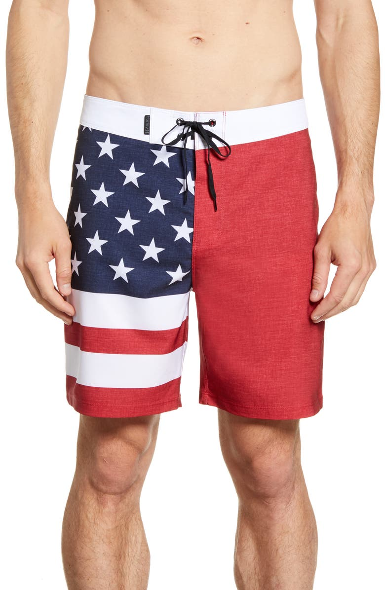 HURLEY Phantom Patriot Board Shorts, Main, color, GYM RED