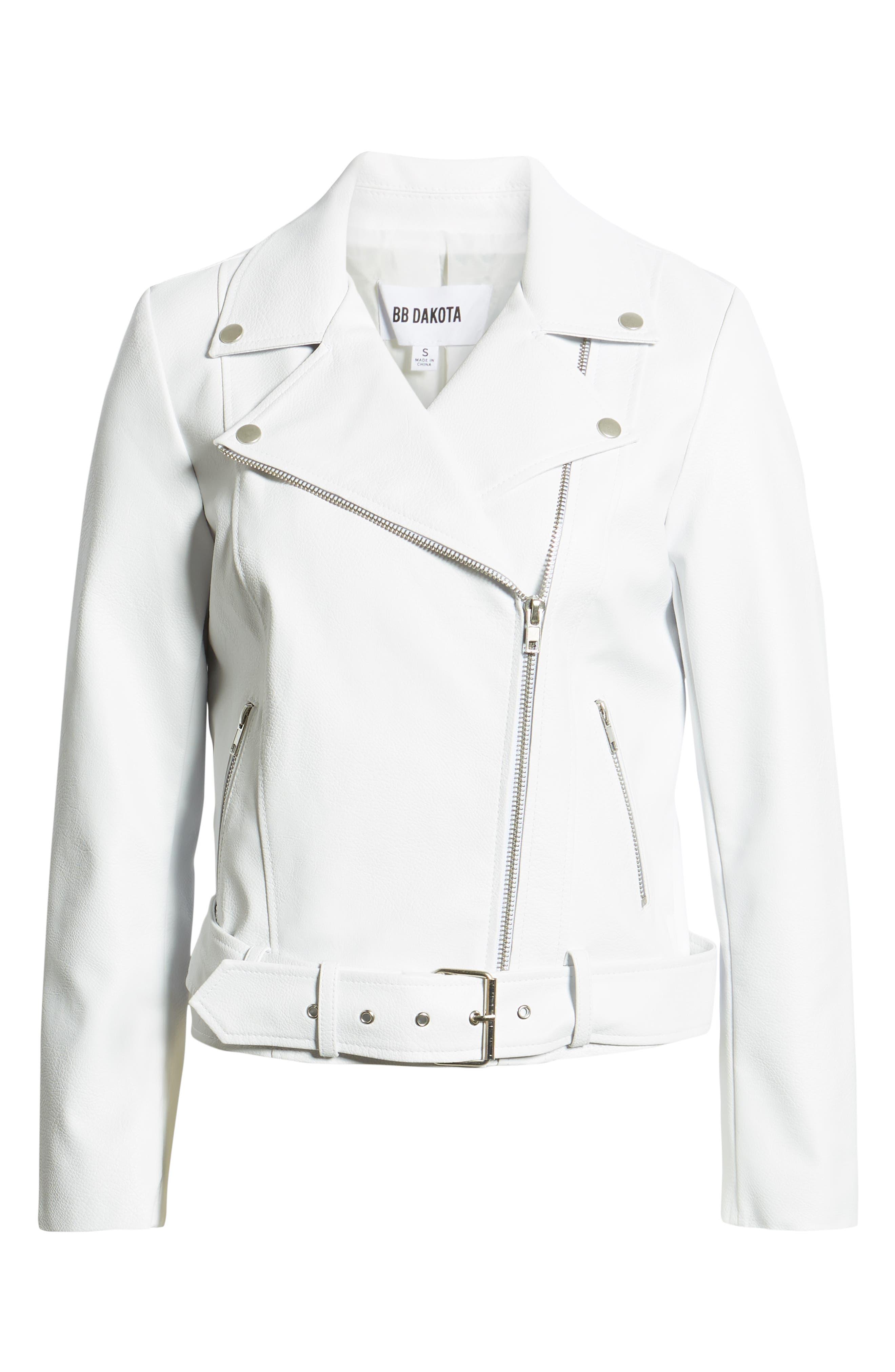 ,                             Guest List Faux Leather Moto Jacket,                             Alternate thumbnail 7, color,                             OPTIC WHITE
