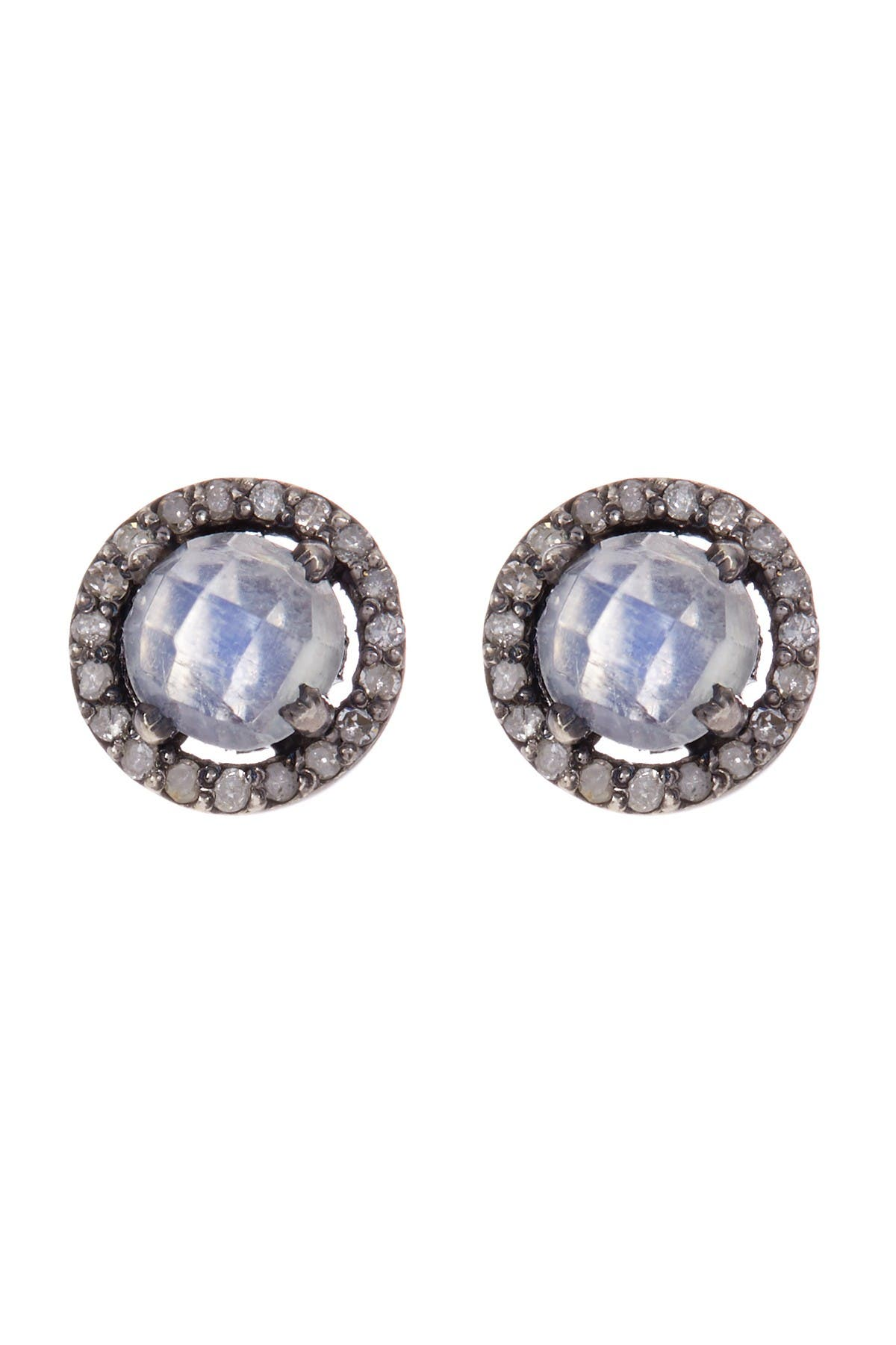 Image of ADORNIA Sterling Silver Echo Moonstone & Champagne Diamond Halo Stud Earrings