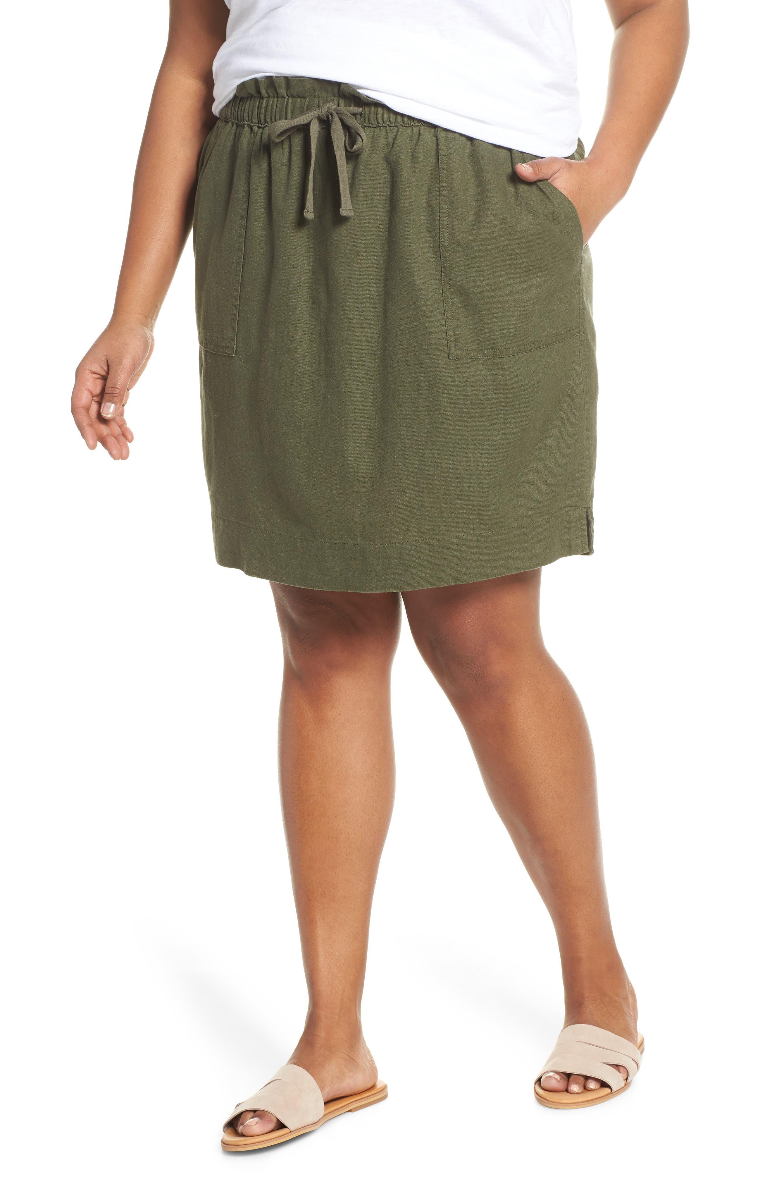 Plus Size Caslon Paperbag Waist Linen Blend Skirt, Green
