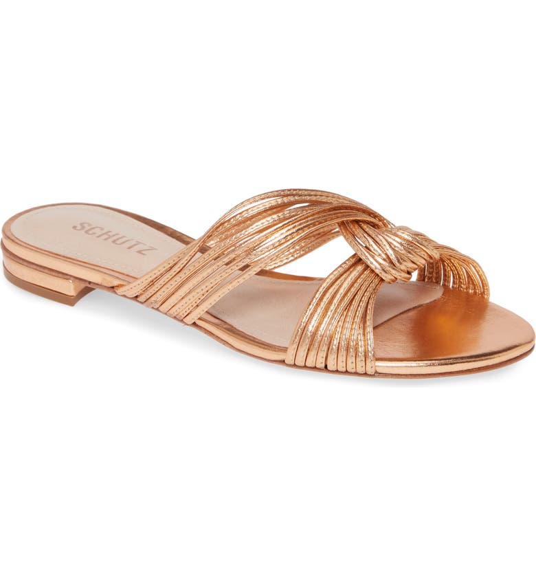 SCHUTZ Kayla Metallic Sandal, Main, color, SALMON