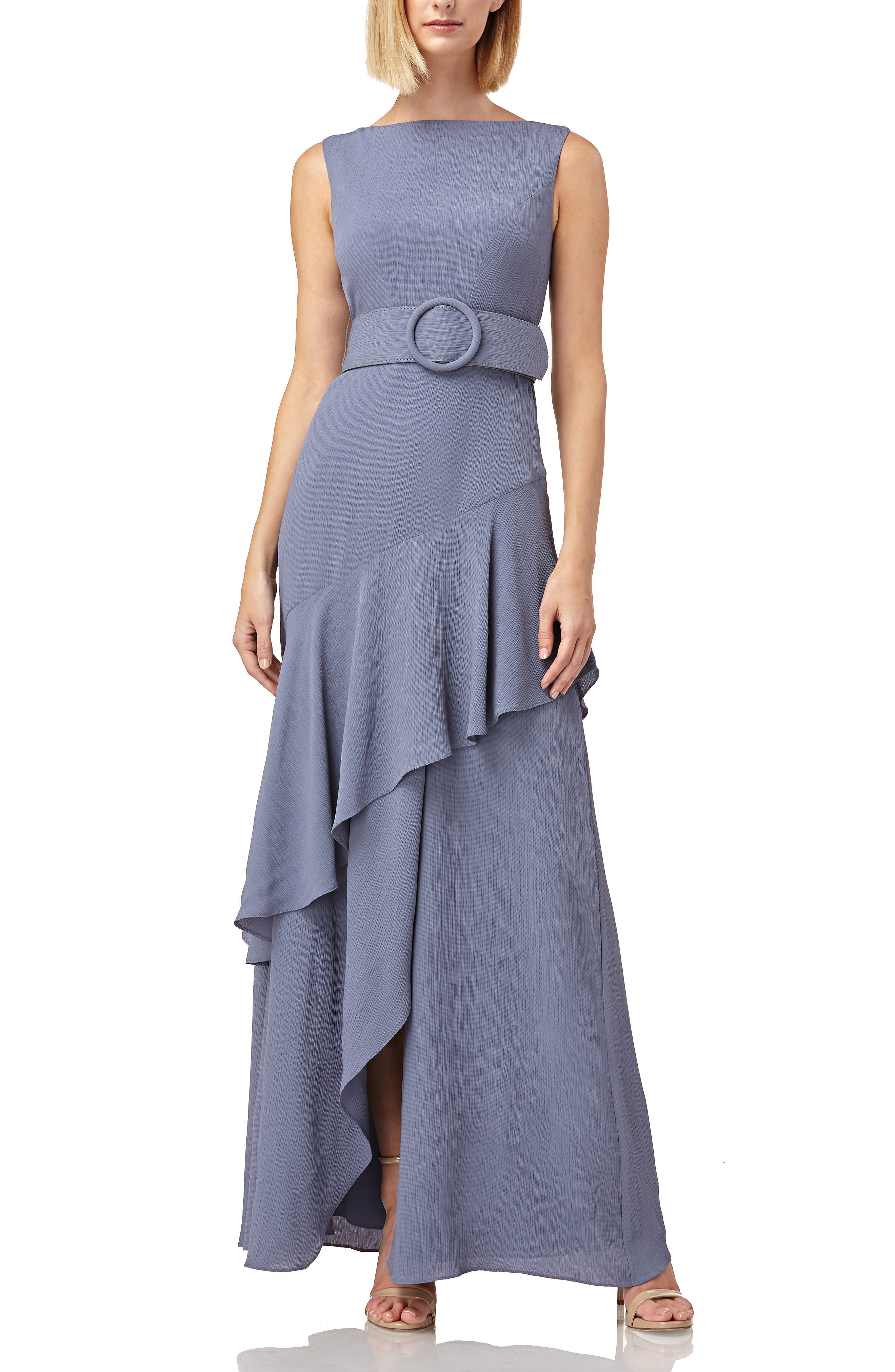 Kay Unger Ruffle Trim Wrap Look Belted Gown, Purple