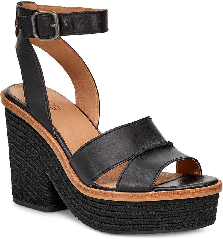 UGG<SUP>®</SUP> Carine Platform Sandal, Main, color, BLACK LEATHER