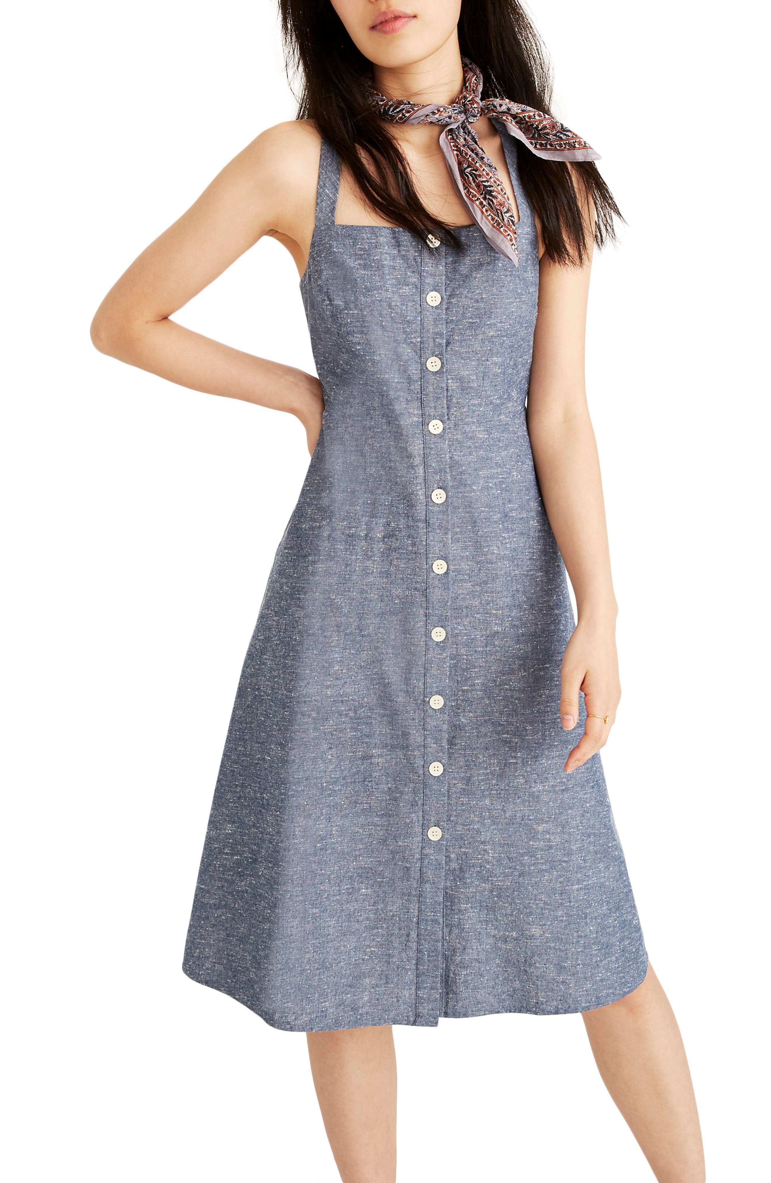 Madewell Button Front Chambray Tank Dress, Blue