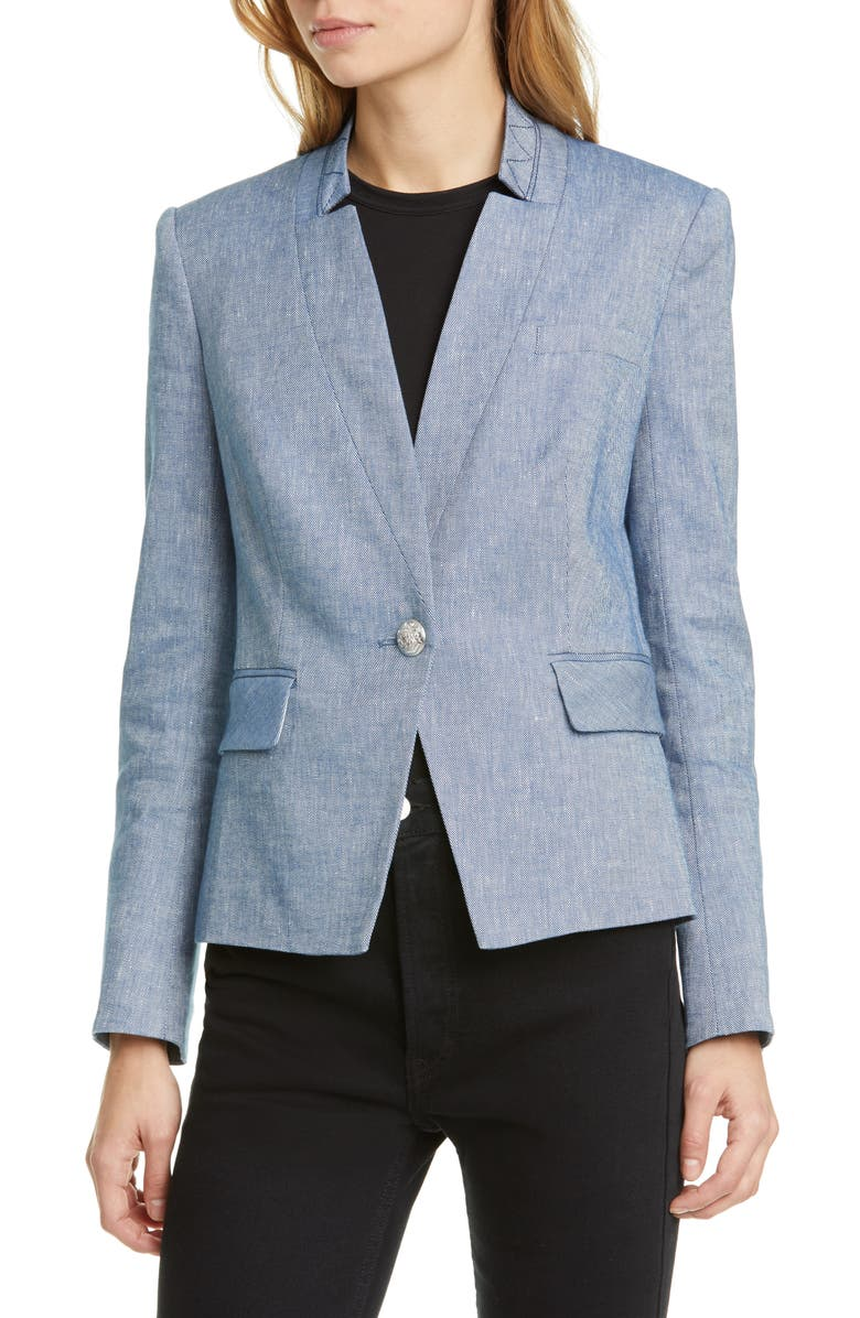 VERONICA BEARD Farley Linen Blend Dickey Jacket, Main, color, BLUE