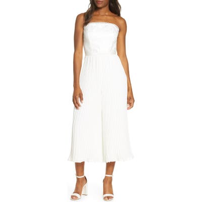 Adelyn Rae Annabelle Pleated Strapless Lace Culotte Jumpsuit, White