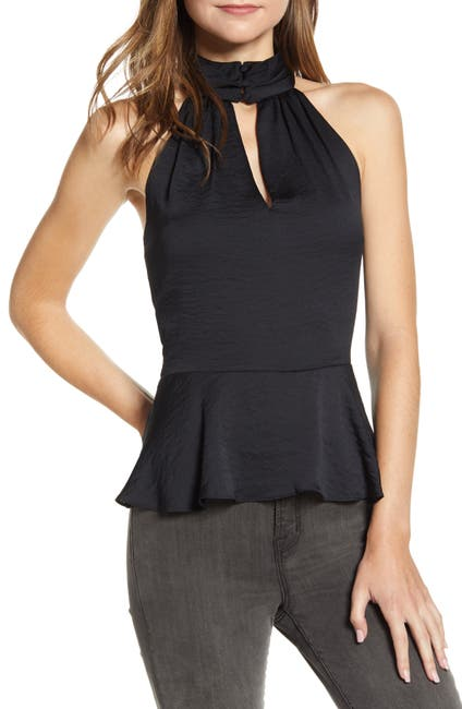 Image of 1.State Halter Neck Rumple Hammered Satin Top