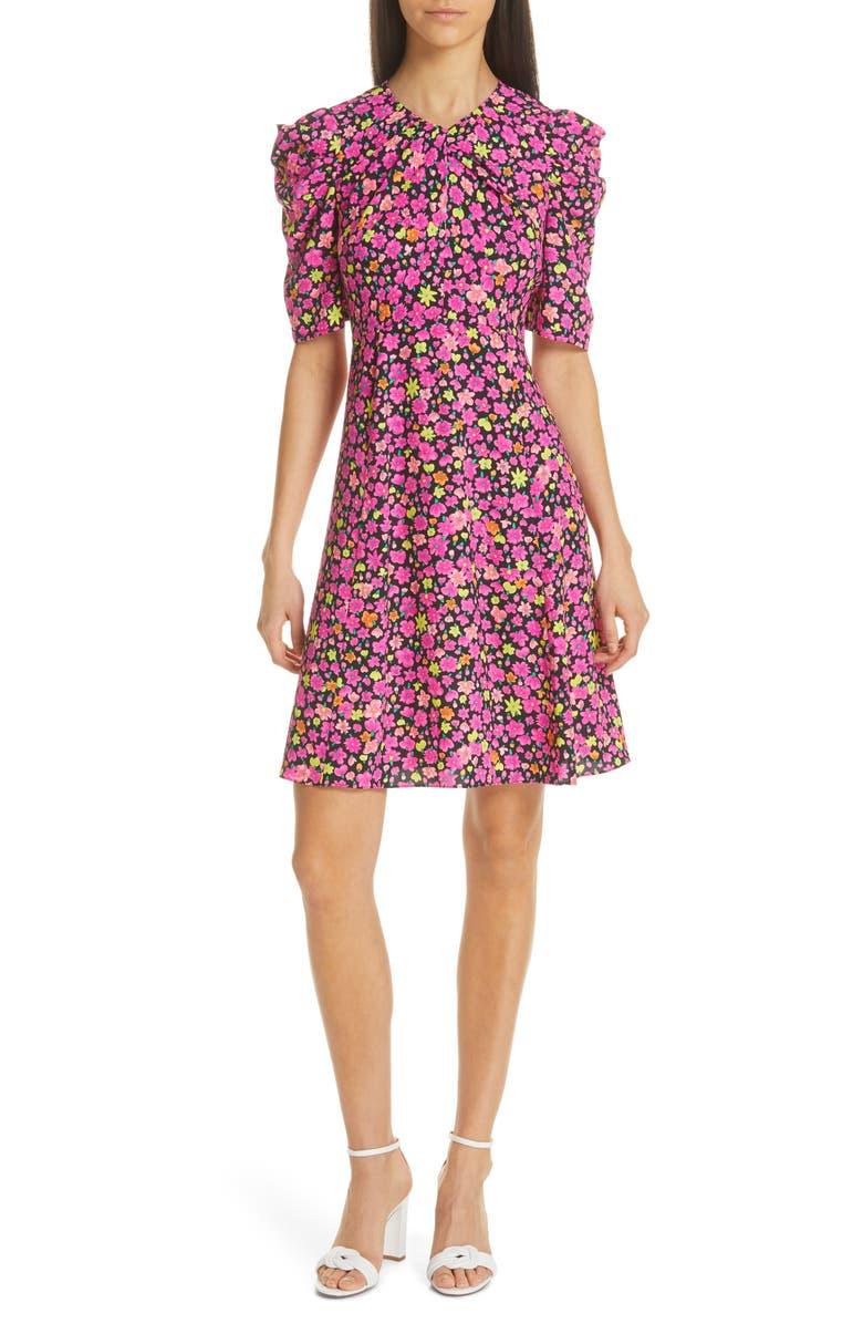 KATE SPADE NEW YORK marker floral a-line dress, Main, color, 001