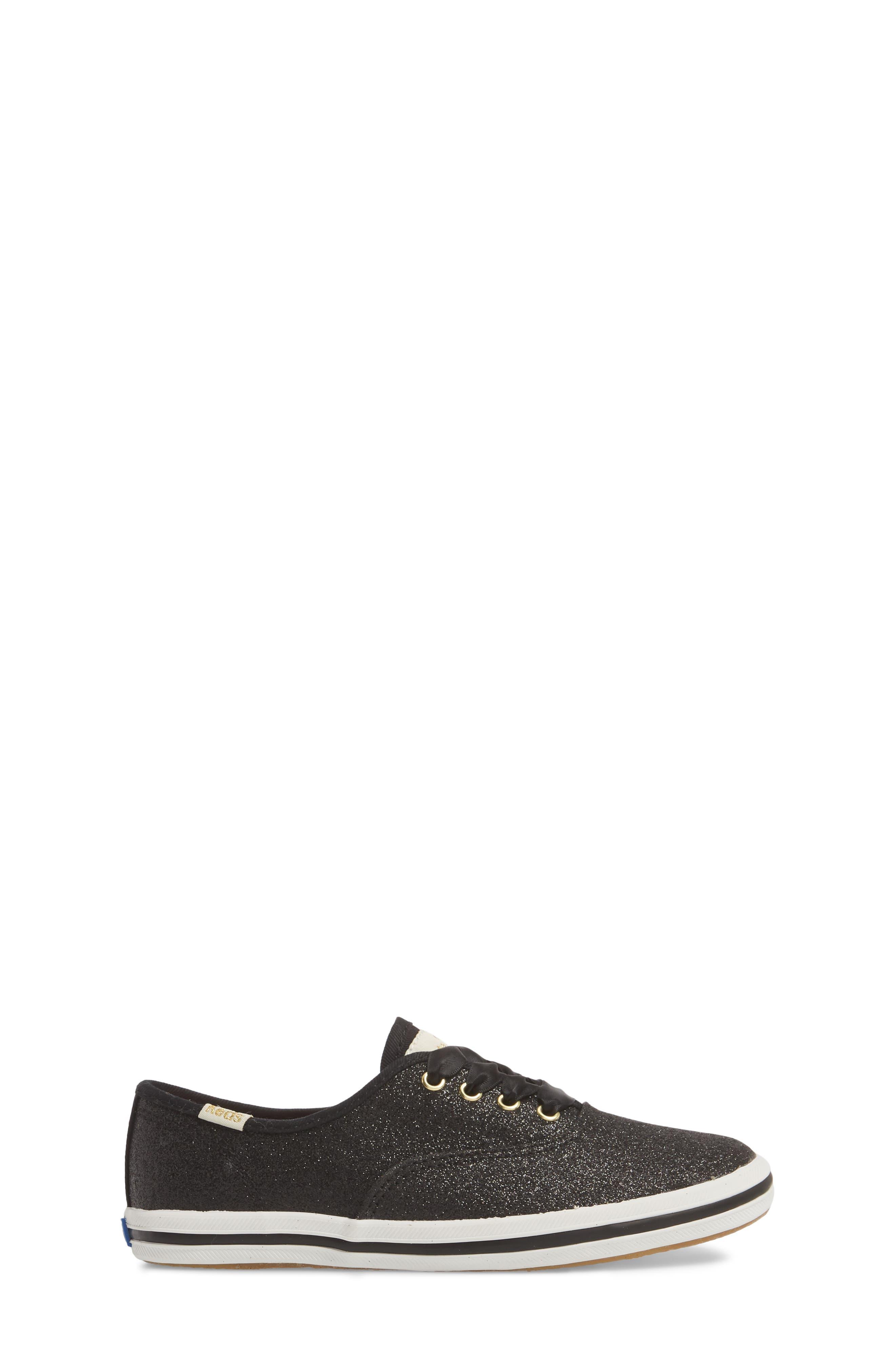 ,                             x kate spade new york Champion Glitter Sneaker,                             Alternate thumbnail 3, color,                             BLACK