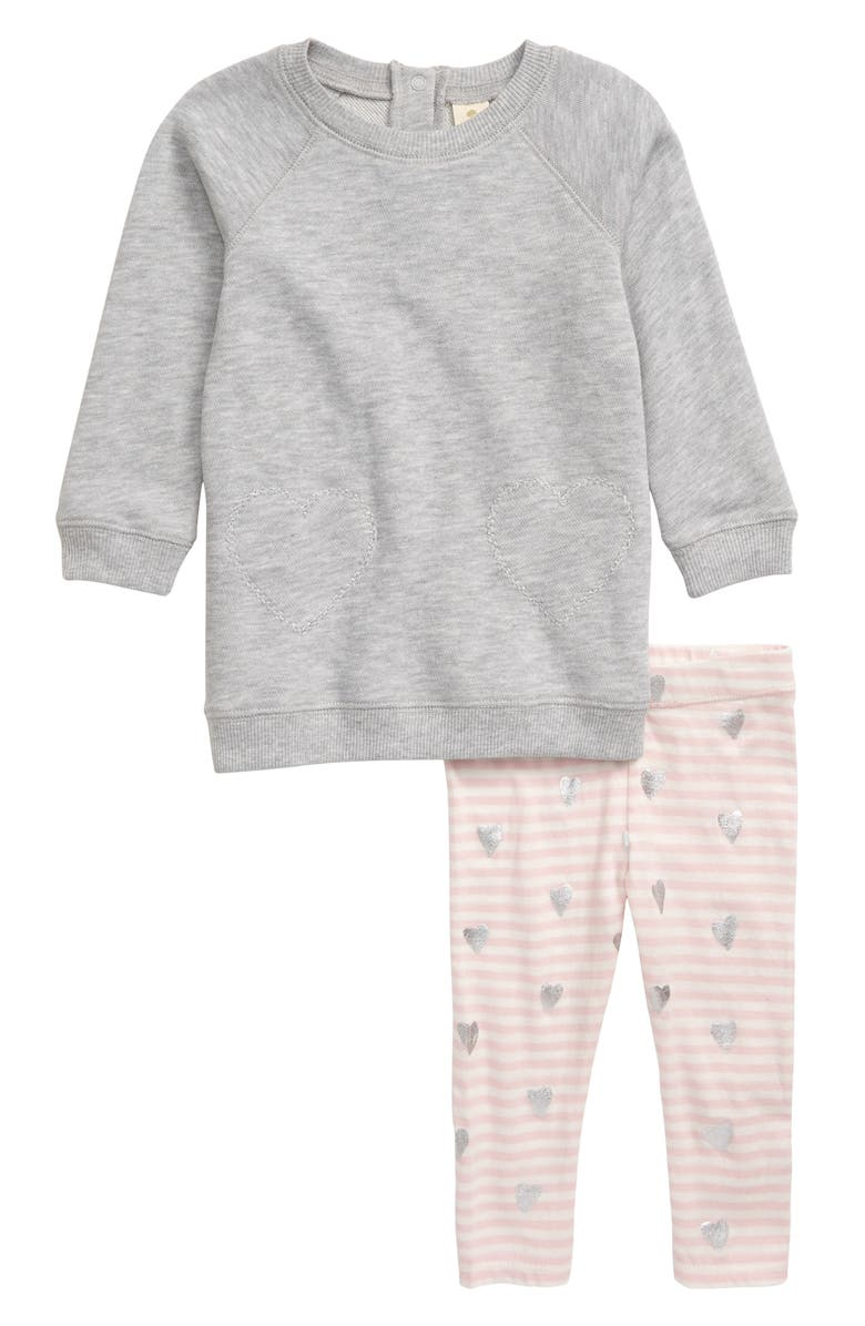 TUCKER + TATE Fleece Dress & Leggings Set, Main, color, PINK ENGLISH- IVORY STRIPE