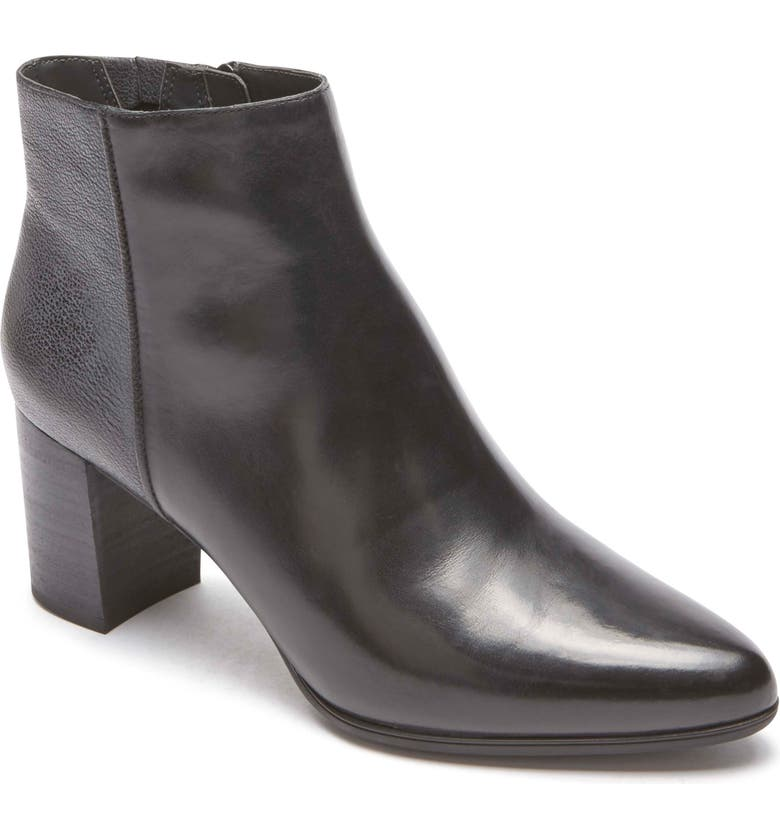 ROCKPORT Lynix Luxe Bootie, Main, color, BLACK LEATHER