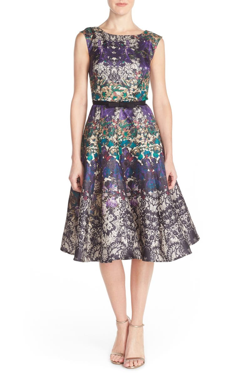 GABBY SKYE Floral Shantung Fit & Flare Dress, Main, color, 500