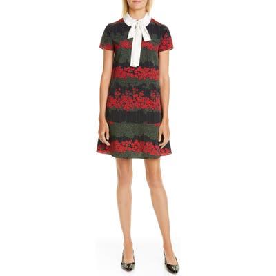 Red Valentino Tie Neck Floral Minidress, US / 40 IT - Black
