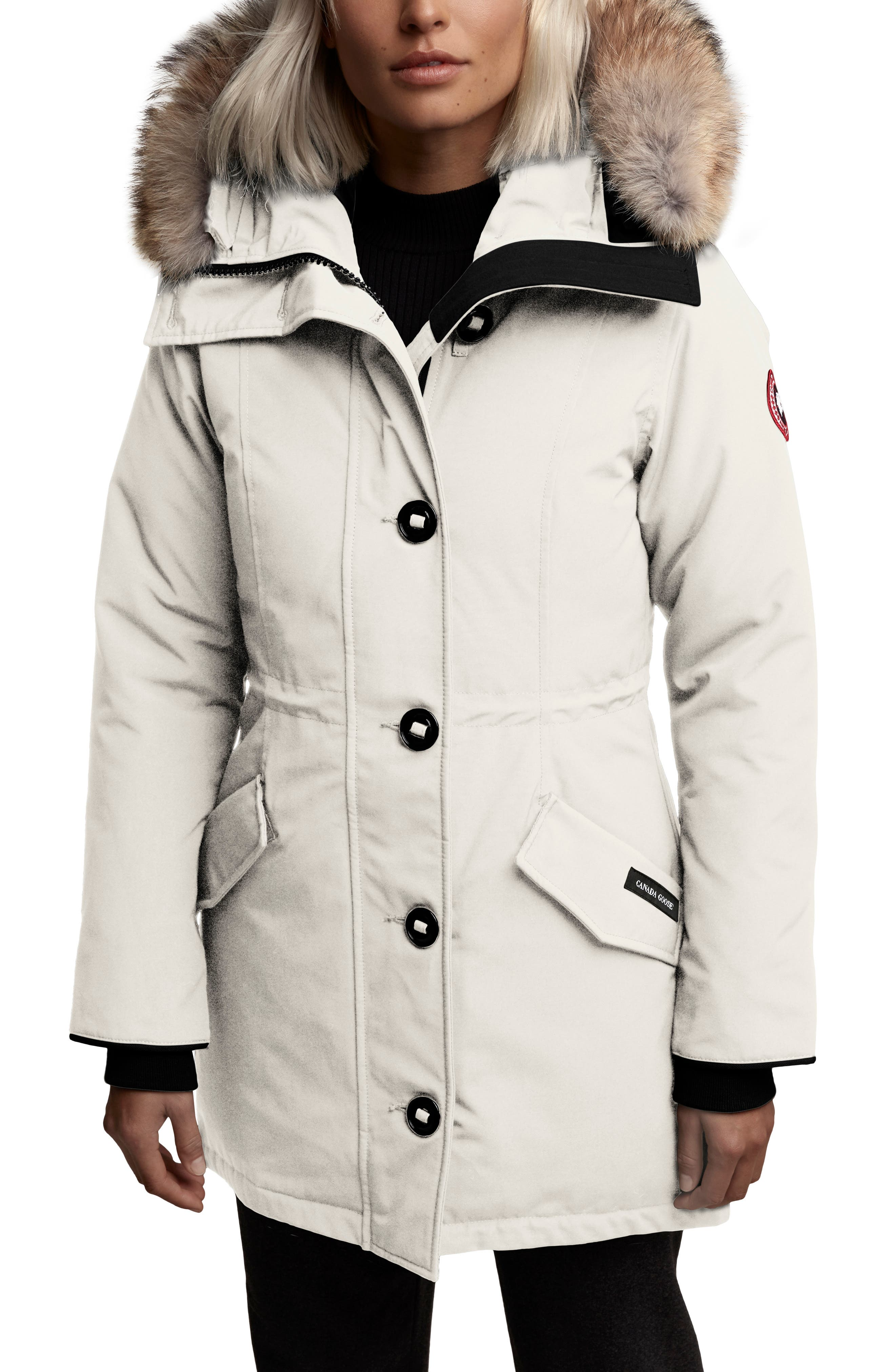 Canada Goose Rossclair Fusion Fit Genuine Coyote Fur Trim Down Parka, (0) - Ivory