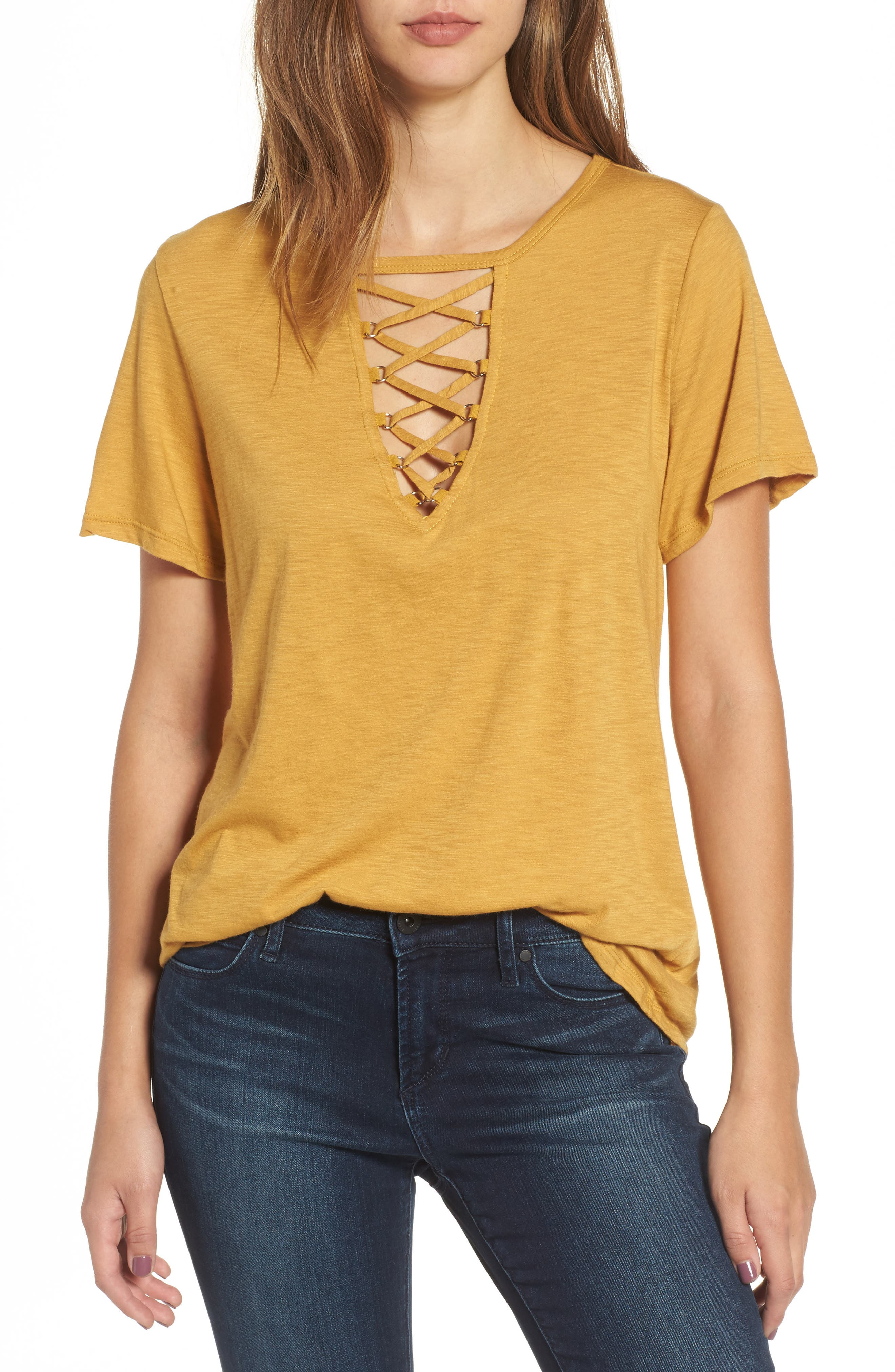 ,                             Grommet Lace-Up Tee,                             Main thumbnail 24, color,                             702