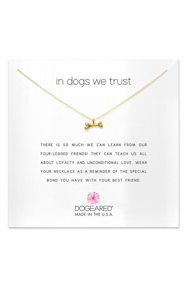 DOGEARED In Dogs We Trust Pendant Necklace, Main, color, GOLD