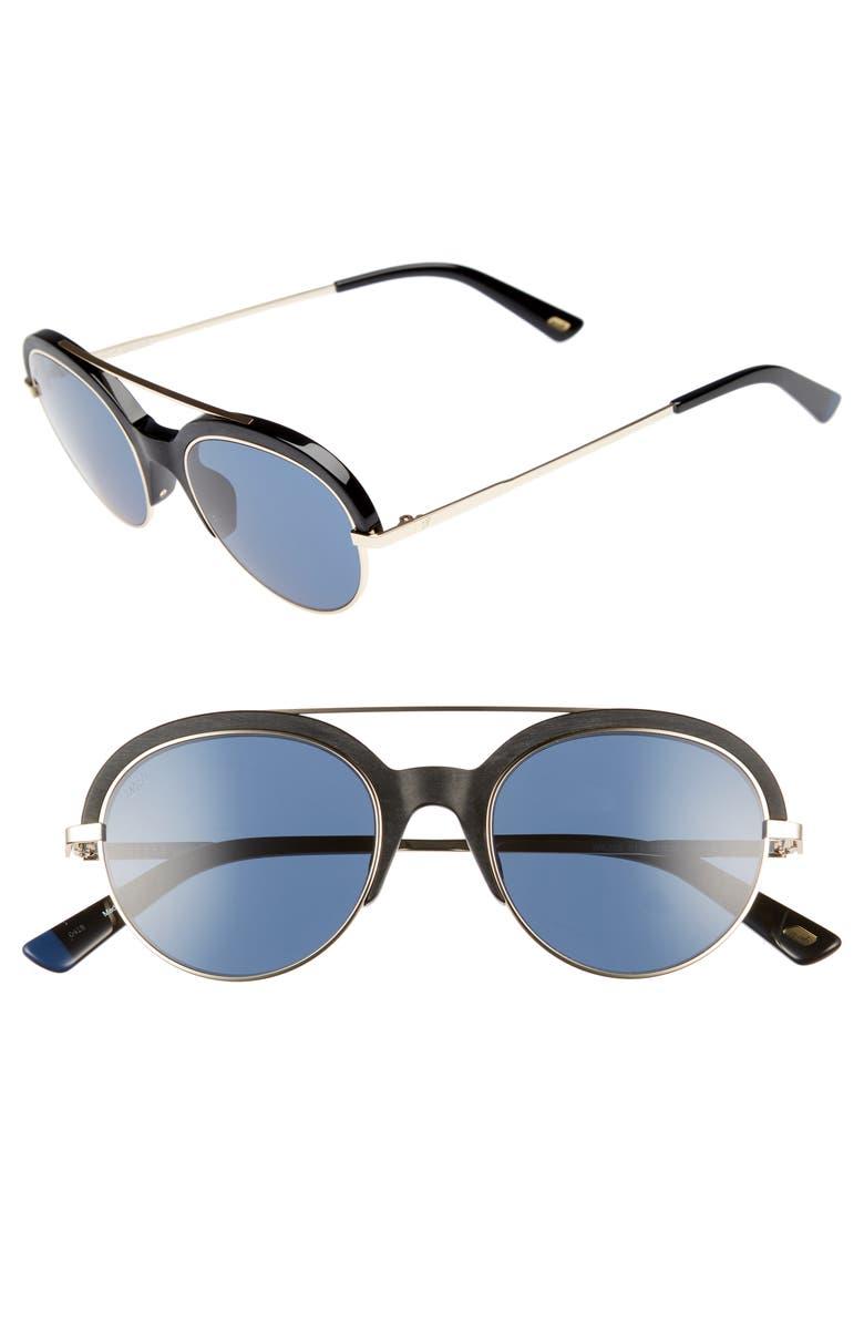 WEB 51mm Aviator Sunglasses, Main, color, SHINY BLACK/ BLUE