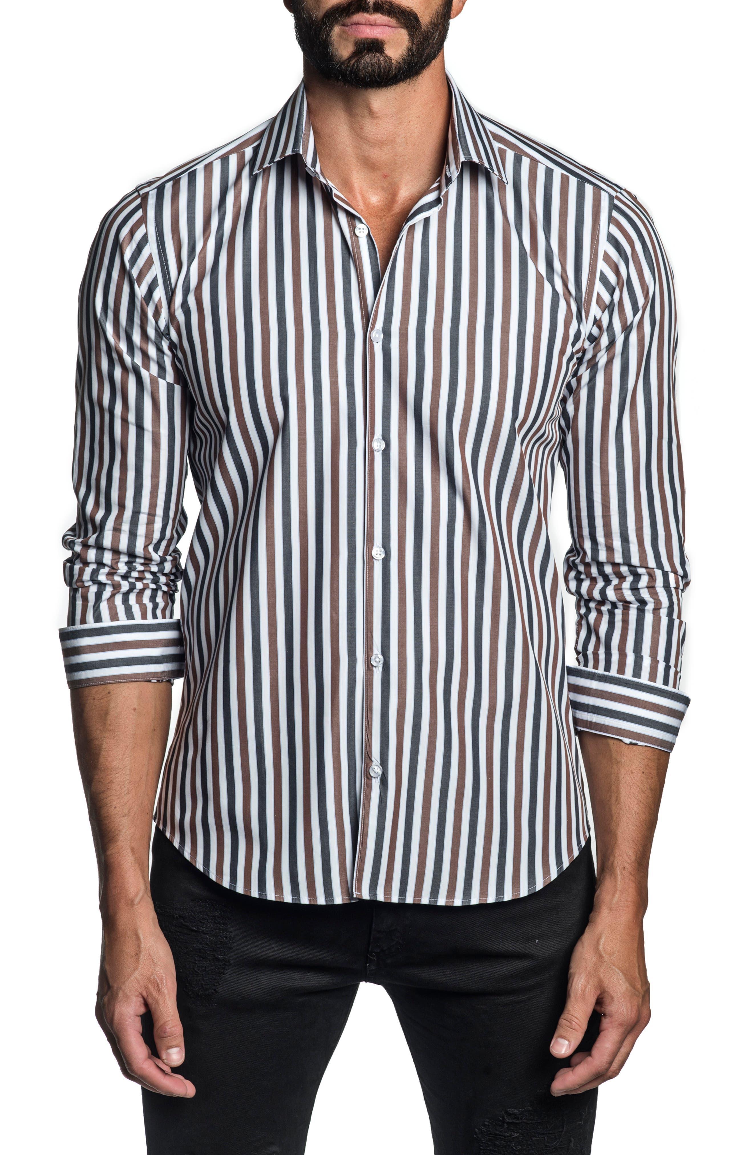 Trim Fit Stripe Button-Up Shirt