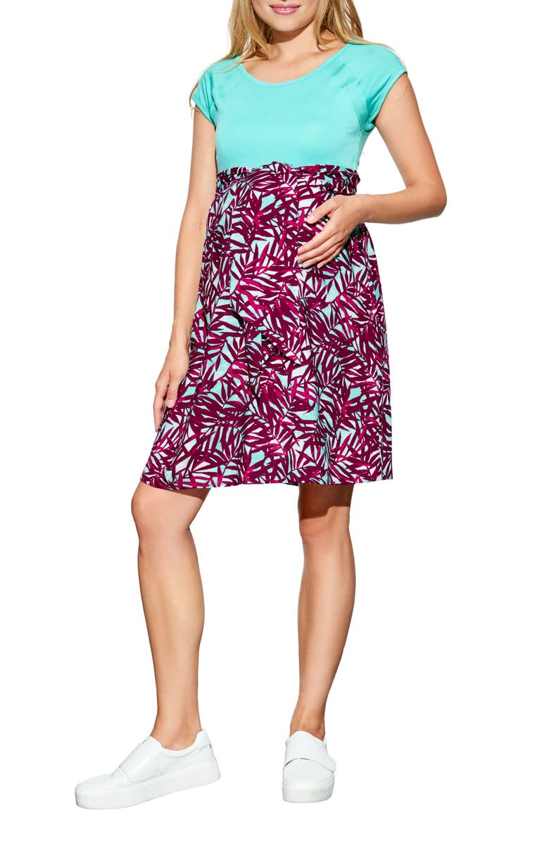 MATERNAL AMERICA Tie Front Maternity Dress, Main, color, MINT/ MAGTRPICS