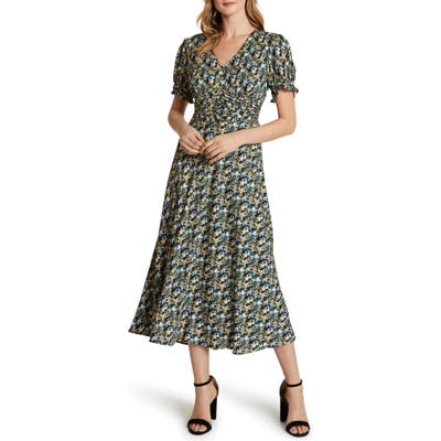 Tahari Floral Short Sleeve Crepe Georgette Midi Dress, Blue