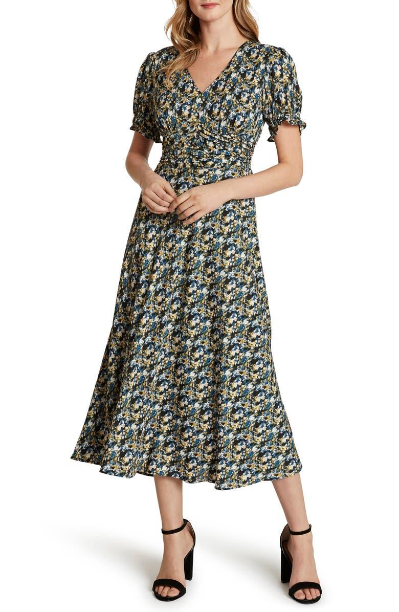 TAHARI Floral Short Sleeve Crepe Georgette Midi Dress, Main, color, NAVY YELLOW