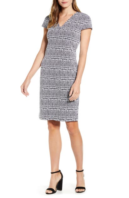 Michael Michael Kors Plaid Jacquard Short-sleeve Bodycon Dress In Black