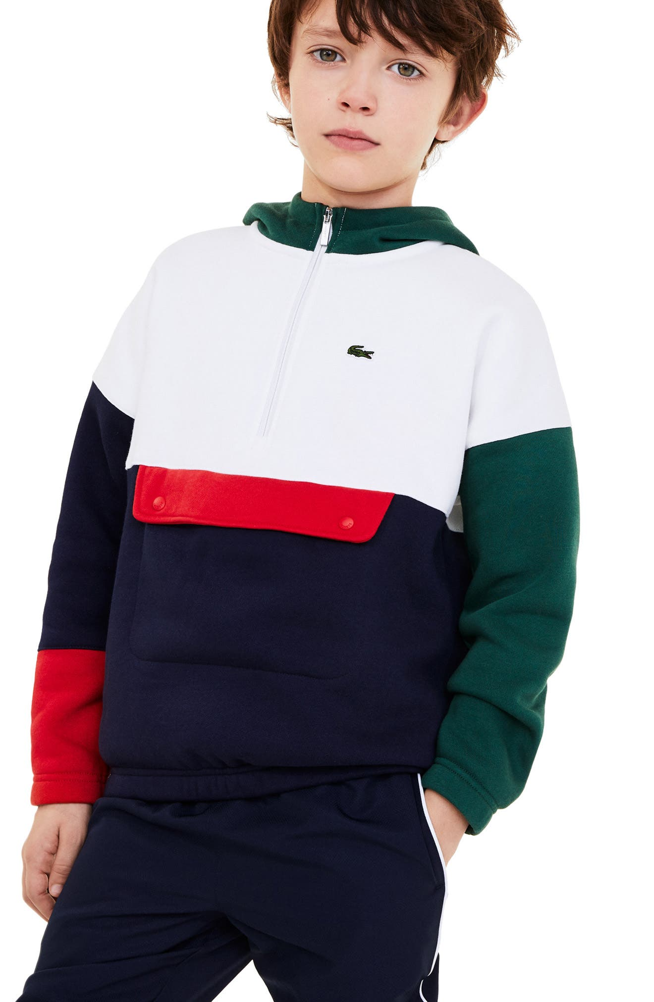 The retro color blocking of this brushed-fleece pullover will have your guy feeling sporty as he dashes after tennis balls or watches classic matches on TV. Style Name: Lacoste Kids\\\' Colorblock Hooded Sweatshirt (Toddler & Little Boy). Style Number: 6121326. Available in stores.