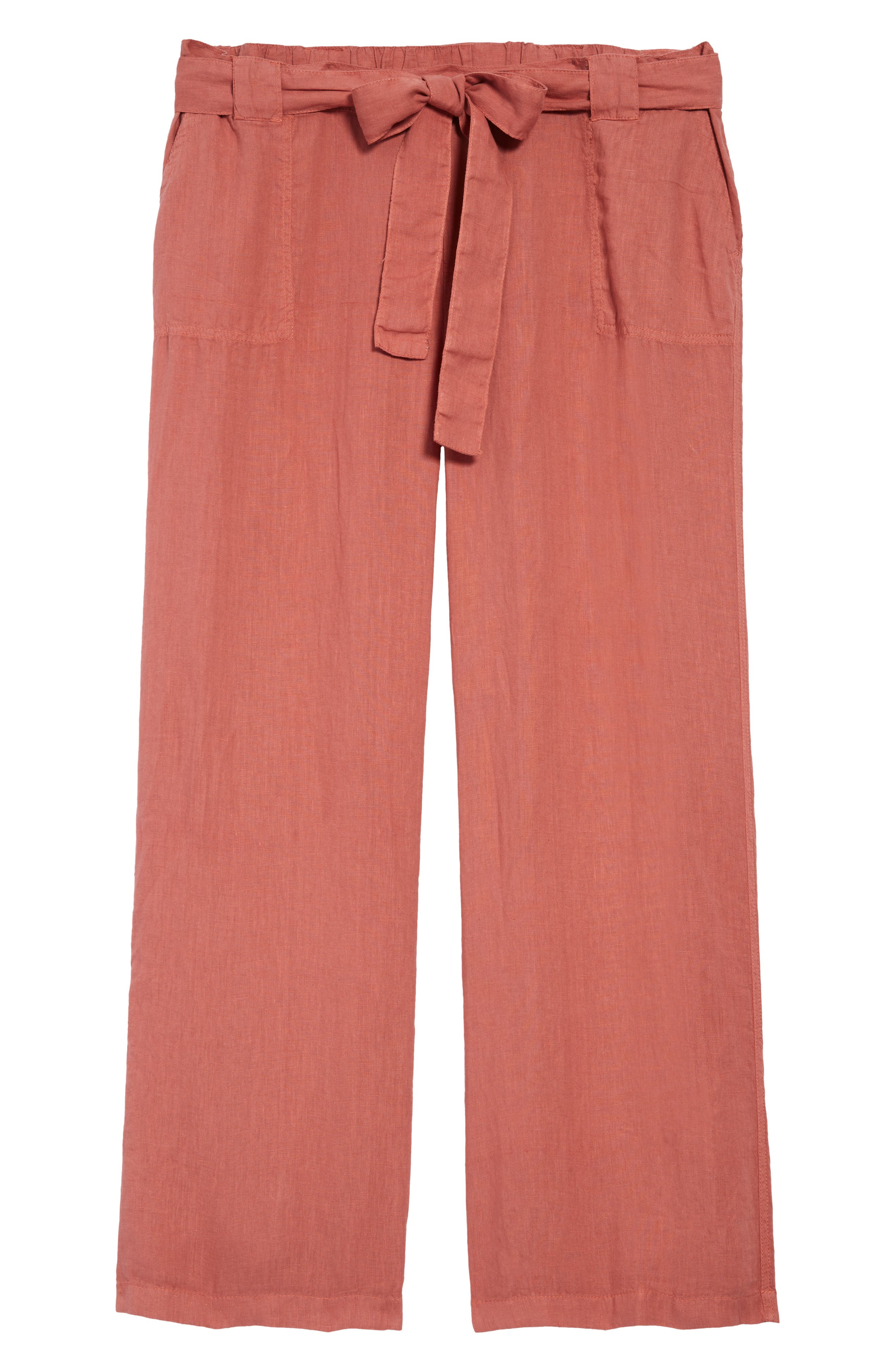 Part of your kicked-back uniform, tie-waist pants feature the cool, breathable comfort of crisp linen enhanced with a breezy flared-leg cut. Style Name: Caslon New Belted Linen Pants (Plus Size). Style Number: 6005912 1. Available in stores.