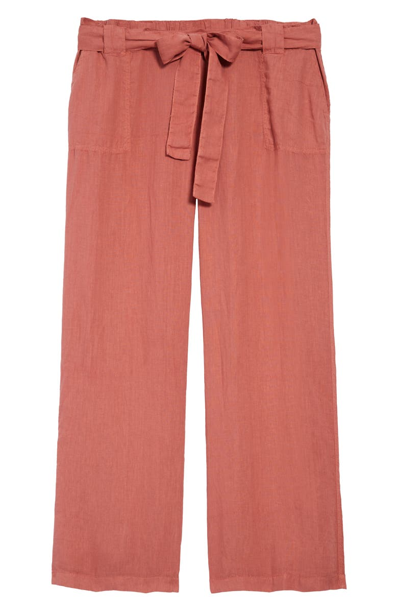 CASLON<SUP>®</SUP> New Belted Linen Pants, Main, color, PINK BRICK